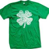 Faded Shamrock Mens T-shirt, Ireland Pride, Four Leaf Clover, St. Patrick's Day Men's Tee Shirt
