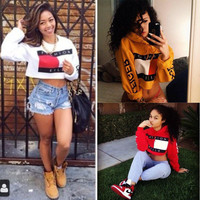 Fashion Women Fleece Long Sleeve Crop Top Pullover Hooded Sweatshirt Cropped Hoodie