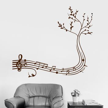 Wall Decal Musical Branch Music Decor Home Decoration Vinyl Stickers Unique Gift (ig2976)