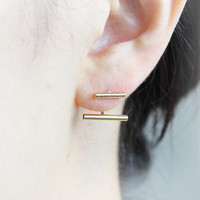 Parallel Bars Front back Earrings / ear jackets, Choose your color / gold and silver