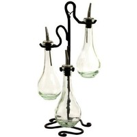Chic Olive Oil & Vinegar Kitchen Dispenser Decorative Bottle Set of 3 G31M~ Glass Drop Bottles with Pour Spout and Black Metal Stand (Clear)