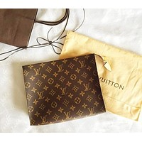 LV Fashion Men's Document Handbag Business Lady's Wallet LV pattern coffee