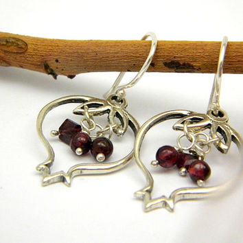 Pomegranate dangle earrings in sterling silver, Garnet outlined pomegranate jewelry