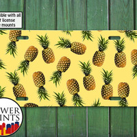 Pineapple Pattern Yellow Cute Summer Fruit Pop Art For Front License Plate Car Tag One Size Fits All Vehicle Custom