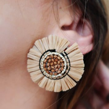 Circle Of Love Earrings: Tan