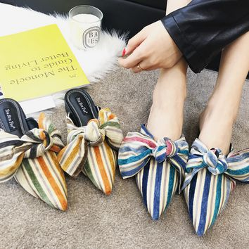 Women Fashion Vintage Stripe Bow Pointy Toe Low Heel Slippers Mules Loafer Shoes