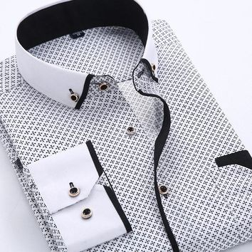Men's Classic Business Fashion Long Sleeves Prints and Dots Dress Shirts