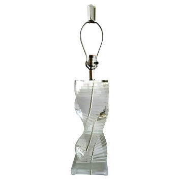 Spiral Lucite Table Lamp