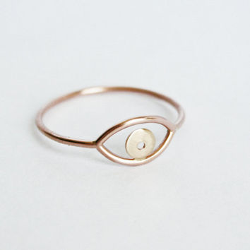 Rose and Yellow Gold Evil Eye Ring, Solid 14kt Gold Pupil, Rose Gold Fill, Simple Gold Ring, Thin Gold Ring