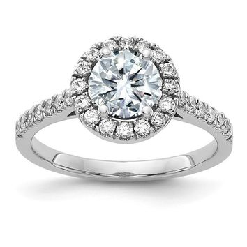 14k White Gold 1.4CT Round Moissanite Halo Engagement Ring