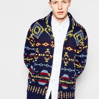 Bellfield Shawl Collar Cardigan with All Over Fair Isle Jacquard at asos.com
