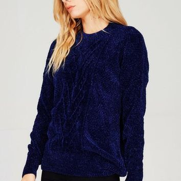 Dasher Luxe Chenille Navy Sweater