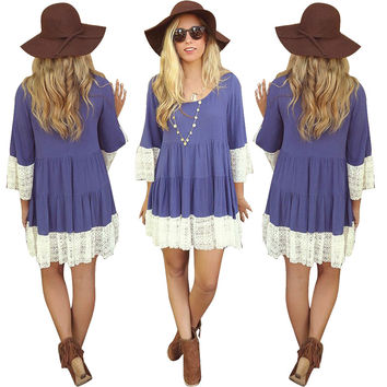 Purple Long Sleeve Mini Dress