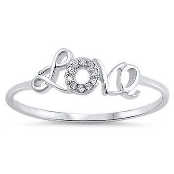 Sterling Silver Petite CZ and Cursive Love Promise Ring