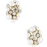 Pearl & Crystal Cluster Earrings