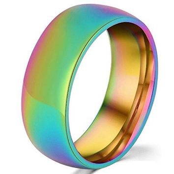 8mm Titanium Stainless Steel Rainbow Gay Lesbian Wedding Engagement Colorful Band LGBT Pride Ring