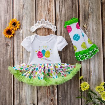 3PCS Newborn - Toddler Baby Girls Easter Eggs Tutu Dress