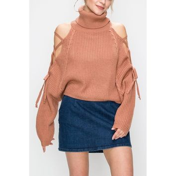 Apricot Cold Shoulder Lace Up Sweater