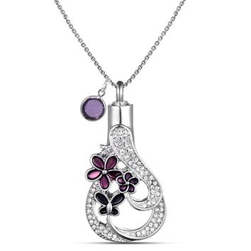 Memorial Cremation Jewelry Urn Necklace for Ash with Birthstone Stainless Steel Chain+Funnel kit