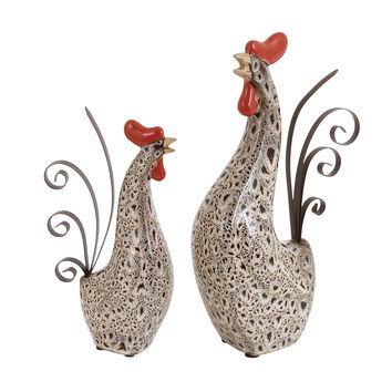 2 Piece Rooster Figurine Set