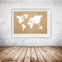 Custom Quote, Custom Size Printable Rustic World Map in white with kraft paper background, gallery wall decor, home decoration