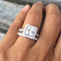 REAL 2.8 Carats Cubic Zirconia 925 Sterling Silver Engagement Ring