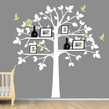 White Tree Wall Decal, Baby Nursery Decor, Shelving Tree, Shelves, Shelf, Tree Sticker