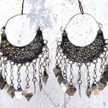 Kuchi Afghan Earring,Chained Tribal Earring,Crescent Earring,Ethnic Earring,Belly Dance Jewelry,Hippie Bohemian Earrings,Gypsy Boho Earrings