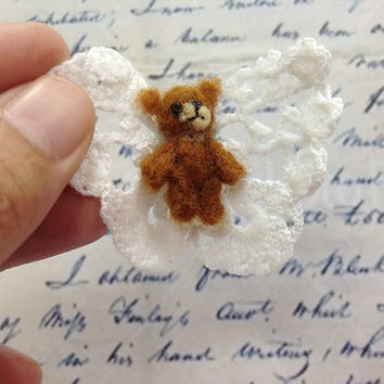 Teddy bear felted ring with white butterfly , Handmade fabric ring , statement ring , needle felted and crocheted - free size