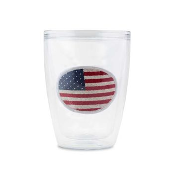 Big American Flag Needlepoint Tumbler by Smathers & Branson