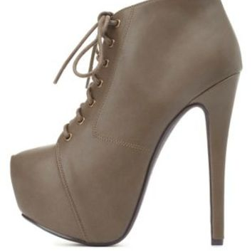 Lace-Up Platform Booties by Charlotte Russe - Dark Taupe