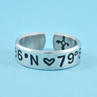 Coordinates - Hand Stamped Aluminum Cuff Ring, Latitude Longitude GPS location Ring, Personalized Gift