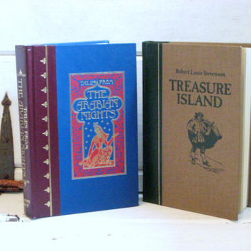 Vintage children's books, Treasure Island and The Arabian Nights,Two Hardcover Classics by Reader's Digest