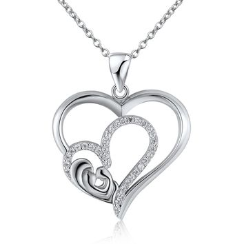Sterling Silver Simple Dual heart diamond Pendant Necklace