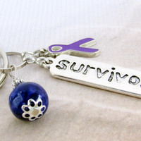 Survivor Keychain, Domestic Abuse Awareness Keychain, Purple Keychain, Purple Ribbon Keychain