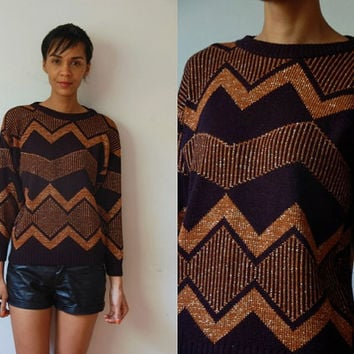 Vtg Shimmer Brown Black Zig Zag Print Retro Sweater