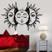 Vinyl Wall Decal Art Sun Star Moon Bedroom Decor Fairy Tale Stickers (1292ig)