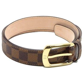 Auth LOUIS VUITTON Damier Ceinture Ellipse Belt M6995U Ebene /041173 FREE SHIP