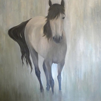 HORSE OIL PAINTING, Fine Art Horse Painting. Gallery Panel Canvas 24x36x1.7,Custom Painting