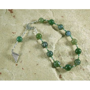 Pan Pocket Prayer Beads in Moss Agate: Greek God of the Forest, Mountains, Country Life