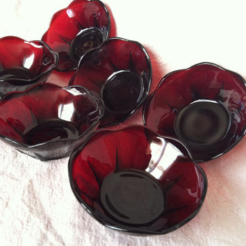 Anchor Hocking Ruby Red Georgian Custard Bowls- Set of 6