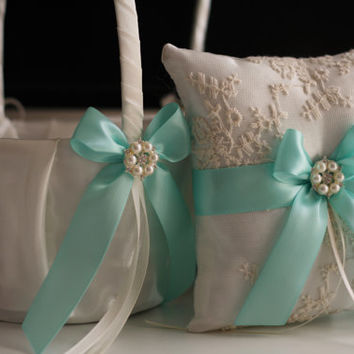 Aqua Blue Ring Bearer and Wedding Basket Set \ Light Blue Lace Wedding Ring Pillow and Flower Girl Basket \ Aqua Bridal Ring Holder + Basket