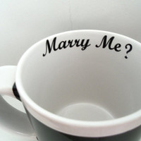 Valentine's Day Marry Me Mug - Mugs - Large Mug - Valentine's Day Gift - Coffee Mugs, Black and White - Home & Living, Large Handle for Him