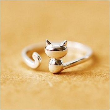 RE 925 Sterling Silver Ring For Women Female Cat Rings Best Gifts
