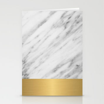 Carrara Italian Marble Holiday Gold Edition Stationery Cards by cafelab
