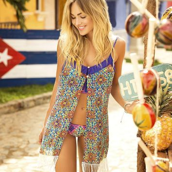 Mar de Fiesta Fringe Beach Cover Up