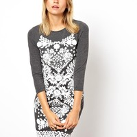 Dress With Lace Design Puff Print