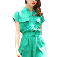 Green Short Sleeve Solid Belted Buttoned Mini Dress