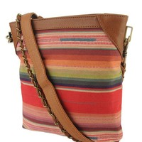 Multi-Striped N/S Shoulder Bag