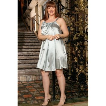 Silver Grey Halter Summer Party Swing Sexy Curvy Dress Women Plus Size